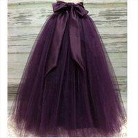 Puffy Dark Purple Long Femmes Jupes Tulle avec Riffon Sash Tutu femme adulte Saias sur mesure élastique
