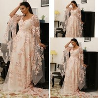 2021 Arabic Blush Pink Sexy Scoop Neck Prom Dresses Lace Appliques 3D Floral Long Sleeves Illusion Sweep Traiin A Line Plus Size Formal Evening Gowns Wear
