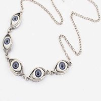 Designer Necklace Luxury Bracelet Vintage Bronze Turkish Devil Evil Eyes Pendant Punk BFF Statement Steampunk Choker For Women Witch Gothic Jewelry Gift