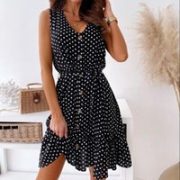 Casual Dresses Floral Printed Femme Summer Clothes 2021 For Women Ladies Sleeveless Mini Dress V-neck Loose Plus Size