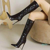 fashion-Boots Botas femininas sensuais na altura dos joelhos, sapatos de salto alto fino com zIper lateral, feito em couro artificial