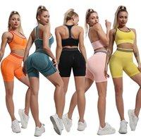 Womens Yoga Anzug Fitnessstudio Sportkleidung Trainingsanzüge Fitness Sport Zweiteiler Set 2 stücke Shorts BH Leggings Outfits Active Tech Fleece Workout YOGAWORLD Fashion Designer Sets