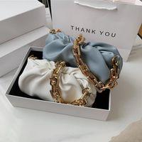 Tek Omuz Koltukaltı Çanta Kadın 2021 Popüler Yeni Yaz Moda Katlama Zincir Slung Cloud Peri Beyaz