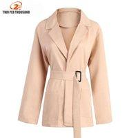 Women's Suits & Blazers Women Pockets And Jackets 2021 Spring Autumn Fashion Single Sashes Blazer Femenino Ladies Female