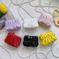 Girls ruffle clouds purse children pearls chain messenger bag kids love heart zipper princess single shoulder bags lady style handbags Q0437