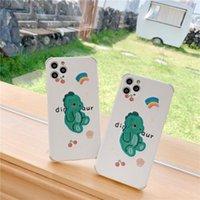 iPhone 12 11 Pro XS Max XR 7 8 Plus SE 커버 3D 만화 곰 체리에 대한 가죽 자수 부드러운 공룡 전화 케이스