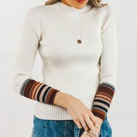 Women's Sweaters Charming Vintage Knitted Striped Splice Women Sweater Turtle Collar Thick Fur Pullover Female Fashion Ladies Jumper Plus Si