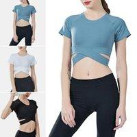 Yoga Outfits Women Top Seamless Fitness Shirt Short Sleeve Crop Sports Gym T-shirt