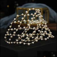 Barrettes SchmuckFashion Luxus Perle Geflochtene Goldene Haarband Damen Hochzeit Bankett Kleid Asoresen Holiday Party Fairy Net Schmuck Clips