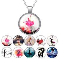 Liebe tanzendes Ballett Runde Anhänger Halskette 25mm Glas Cabochon Frauen Mädchen Schmuck Party Geburtstagsgeschenk 50cm