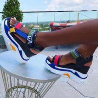 Alta plataforma Mulheres Sandálias Gancho Loop Color Misturado Sapatos de Plataforma Sapatos