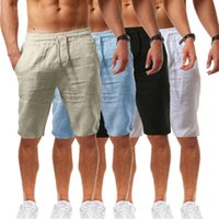 Men's Shorts 2021 Cotton Linen Pants Male Summer Breathable Solid Color Trousers Fitness Streetwear S-4XL