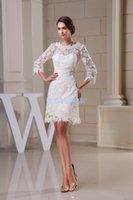 Bridesmaid Dress Modest 2014 Design Custom Size Plus Gown Beach Long Sleeve Lace Short White Dresses
