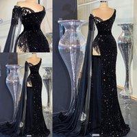 긴 반짝임 댄스 파티 드레스 2021 섹시한 인어 높은 슬릿 두바이 아프리카 여성 블랙 스팽글 정장 이브닝 가운