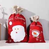Joyeux décorations de Noël santa claus cordon de dossier christma cadeau sac de bonbon sac de noël sacs wll393