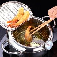 Rakkaus japonés fritura profunda con A y una tapa 304 Accesorios de cocina de acero inoxidable Tempura Fryer Pan 20 24 cm