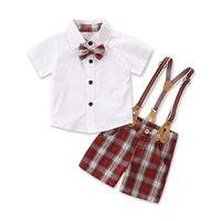 Conjunto de trajes de 2 piezas, camisa de manga corta de cuello de giro a cuadros para niños + pantalones de suspensión para el otoño de verano, 6 meses-4 años x0719