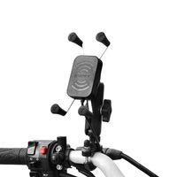 Держатели мотоциклов сотовых телефонов Мотоцикл РульБар Алюминиевый сплав GRIP держатель крепления с беспроводным зарядным устройством для мобильных телефонов 4-6,5 дюйма