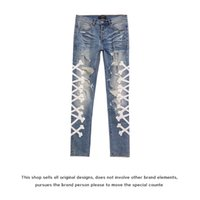 Fog Amir Wash Water Blue Hole Making Old Stickers Leather Embroidered Bone Elastic Slim Fit Jeans Men's High Street Fashion Brand Mx2