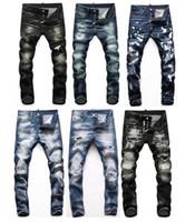 Mens Badge déchire Stretch Black Hommes Jeans Fashion Slim Fit Fit Motocycle Denim Pantalon Pantalon Pantalon Hip Hop Pantalons 6702 Jeans