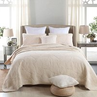 Bedding Sets Soft Cotton Bed Cover Set White Beige Green Pink 3Pcs Queen Double Size Quilted Spread Sheets Blanket1