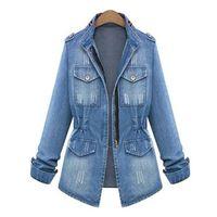 Women's Jackets Spring Autumn Women Coat Slim Denim Jacket Jeans Clothing Pocket Zipper Casual Female Plus Size Long Sleeve