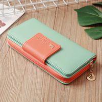 Wallets 2021 Women Wallet Leather Case Long Zip Button Birds Clutch Card Purse Handbag Female Holder Casual Tote