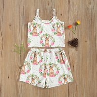 Clothing Sets Baby & Children's 2-5Years Easter Girl's Two Piece Set Flower Printing Camisole Matching Shorts For Kids