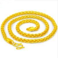 2 estilos Envío gratis Hombre pesado 24k Real Solid Gold Finish Thick Miami Cuban Link Collar Cadena Cadena superior Calidad Collares Joyería