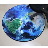 Carpets Round Carpet 3D Print Earth Planet Soft Anti-slip Rugs 60 80 100cm Computer Chair Mat Floor For Kids Room Home Decor