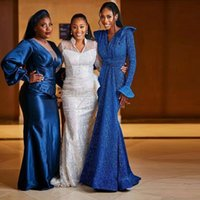 Royal Blue Sequin Mermaid Evening Dresses V Neck Poet Long Sleeve Formal Gown Custom Made Womens Special Occasion Wears