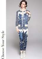 Luxury Sports Pants Sets Women 2021 Runway Retro Print Zipper Jackets Coat + Elegant Long Trousers Spring Autumn Female Fashion Designer Running Two Piece Casual Suit