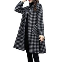 Women's Wool & Blends Blended Woolen Coat Fashion Trench 2021 Autumn Winter Single-breasted Black And White Plaid Windbreaker Outwear