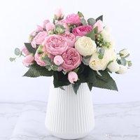 30 cm rosa rosa peonia fiori artificiali fiori bouquet 5 grande testa e 4 fiori finti di germogli per la decorazione di nozze domestiche in possesso di fiori in possesso di fiori