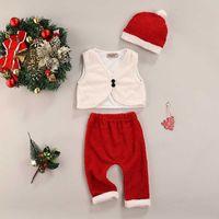 Newborn Baby Boys Girls Cotton Casual Christmas Vest + Trousers + Hat, Soft Fluff Elastic Waist Ball Decoration Festive Clothing G1023