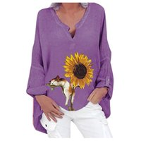 Women's Blouses & Shirts Cat Sunflower Print Women Casual Loose V Neck Long Sleeve Ladies Top Cotton Autumn Bottoming Shirt Tops