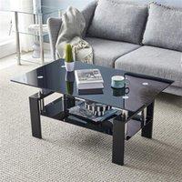 Oturma odası mobilyaları 110 * 60 * 45.5 cm paslanmaz çelik masa ayakları ile çift camlı yemek