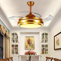 220V 42-дюймовый серебристый / золотой современный потолочный вентилятор дистанционного управления со светильником Невидимый Светодиодный складной потолочный вентилятор столовая лампа