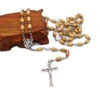 Houten rijst kraal rozenkrans kruis ketting handgemaakte gebogen pin heilige aarde religieuze sieraden