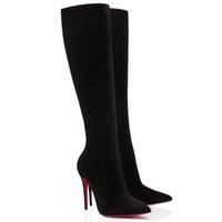 """20s inverno mulher longa botas sapatos sapatos vermelhos bottom boot para mulheres tournoi preto camurça """"Eloise Botta 85mm couro alto botas com caixa"""