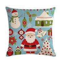Cushion Decorative Pillow Santa Claus Print Cushion Cover Christmas Printed Peach Skin Pillowcase 1PC Sofa Decoration Housse De Coussin