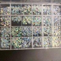 Nail Art Süslemeleri 1 Kutu 480 ADET 12 Şekiller AB K9 Cam Kristaller Rhinestones Süper Parlak Kristal Taşlar DIY Craft Için Flatback Gem Taş