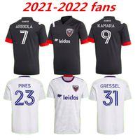2021 2022 D.C. United Soccer Jersey Rooney Gressel Pines Arriola Flores Kamara 21 22 DC Black White Home Away Camisa Football Qualidade Tailandesa 999
