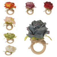 Party Favor 7 color Wooden Napkin buckle clasp hand woven linen rope Artificial Flower Napkins Ring Hotel table DD562