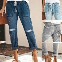 Women's Jeans Women Ripped Denim Trousers Leisure Street Korean Style Mid-length Straight-leg Pants Casual