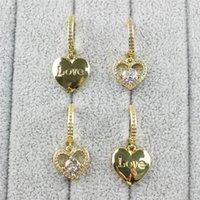 Dangle & Chandelier 10pair lot Fashion Plated Earring ,plated Copper Cute Heart love Shape Cz Earring, Women Love Earrings Wholesale