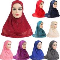Donne musulmane Hijab Sciarpa islamica Donna One Piece Cap Copertura integrale Copricapo con bellissima pizzo perline 11 colori 70 * 60 cm
