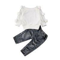 Conjuntos de roupas FocusNorm 1-5 Anos 2 pcs Kids Baby Girl Winter Roupa Definir sólido camisola de malha tops + calça criança roupa de moda
