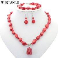 Smycken sätter natursten röd korall oregelbunden form isolering rund pärlor hängsmycke halsband armband örhängen sätta kvinnor charms gåva