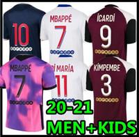 20 21 Jersey de futebol 2020 Mbappe Icardi Homens Crianças Maillot de Foot Hommes Enfants Maillots de Futebol Kits Kimpembe di Maria Kean Marquinhos